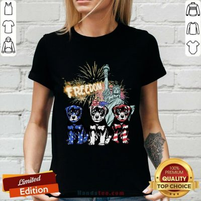 Freedom Rottweilers Statue Of Liberty USA Flag V-neck