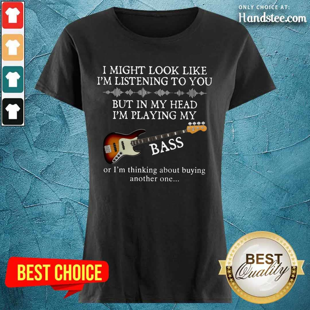 In My Head I'm Playing My Guitar Bass Ladies Tee