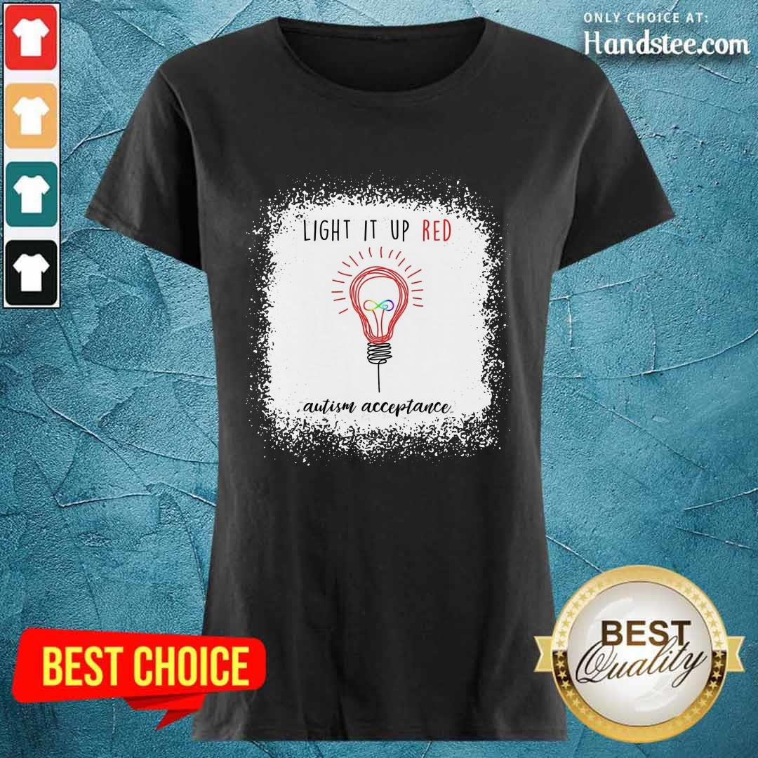 Light Up The Red Autism Acceptance Ladies Tee