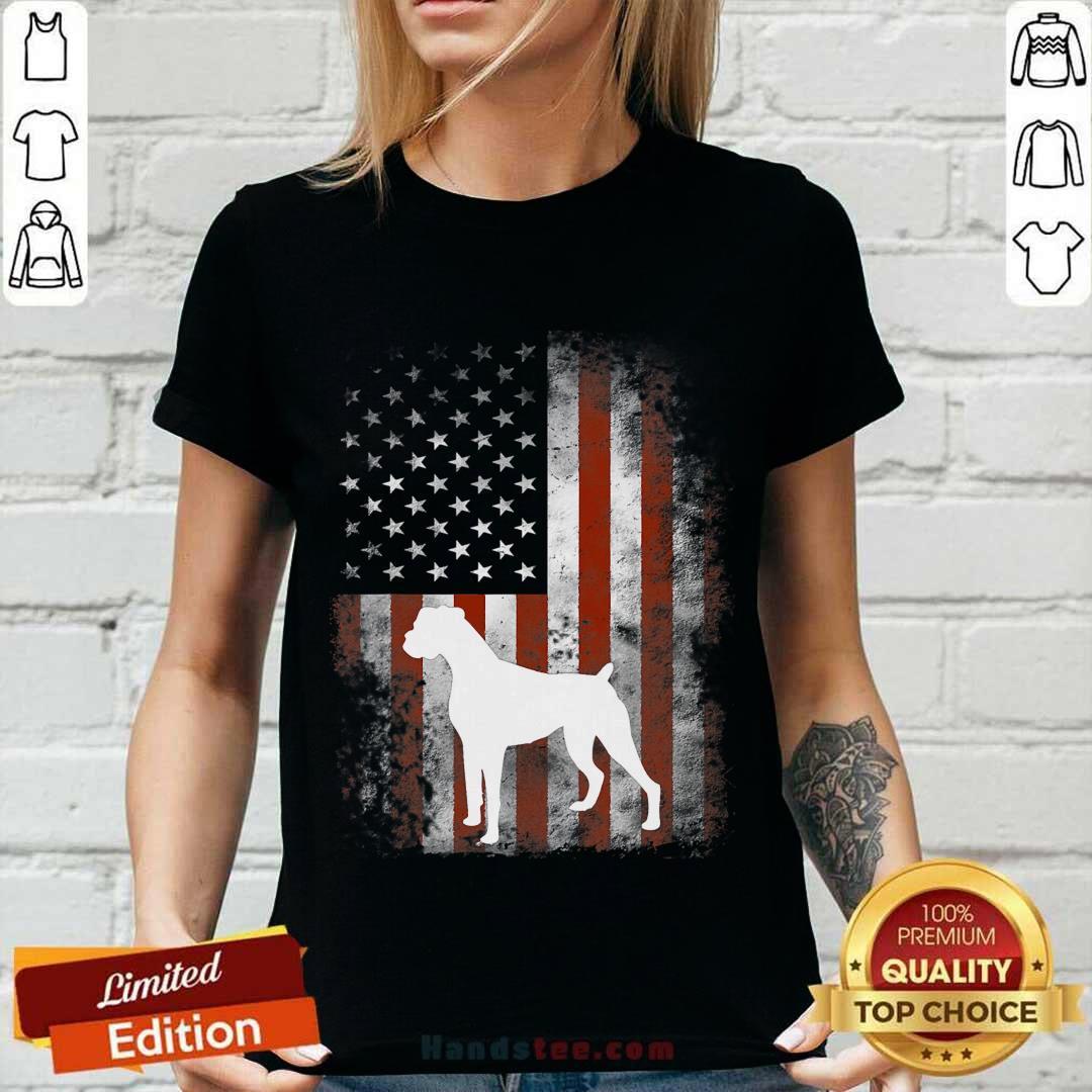 White Boxer Dog American Flag V-neck