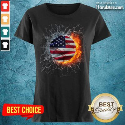 Baseball Water And Fire Flag Ladies Tee