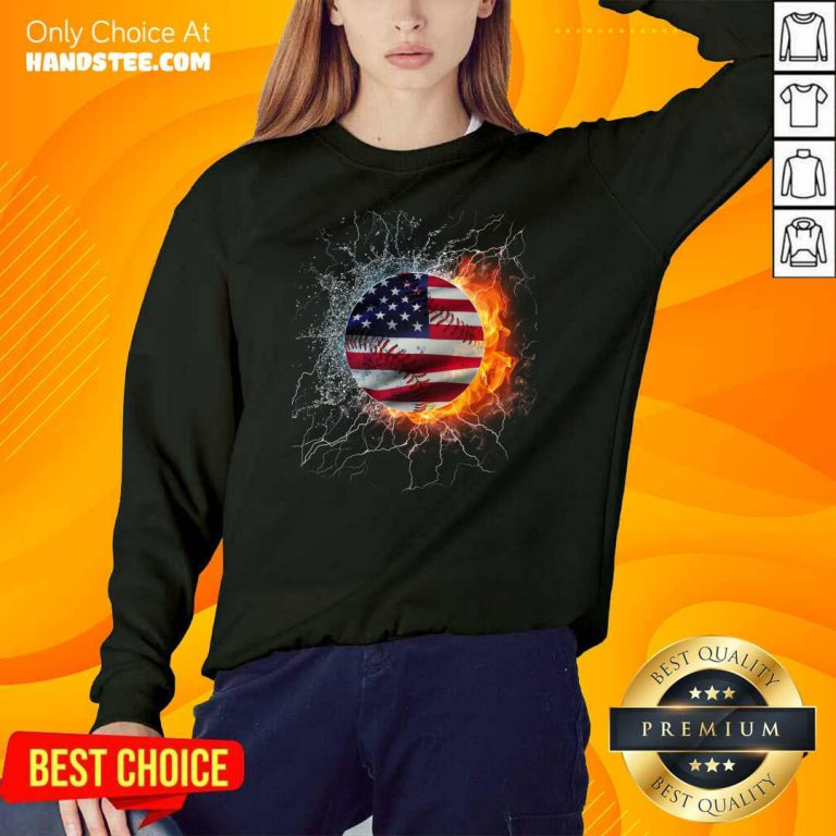 Baseball Water And Fire Flag Sweater