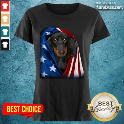 Dachshund Wrapped In American Flag Ladies Tee