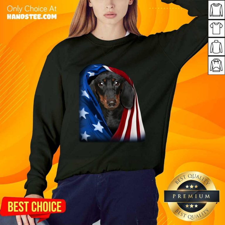 Dachshund Wrapped In American Flag Sweater