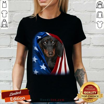 Dachshund Wrapped In American Flag V-neck