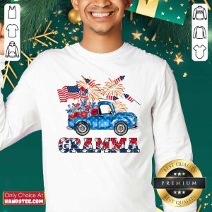 Gramma Flower Pickup Truck American Flag 4th Of July Sweater