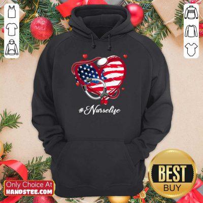 Heart American Flag Nurse Life Hoodie