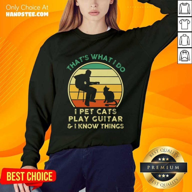 I Pet Cats Play Guitar Vintage Sweater