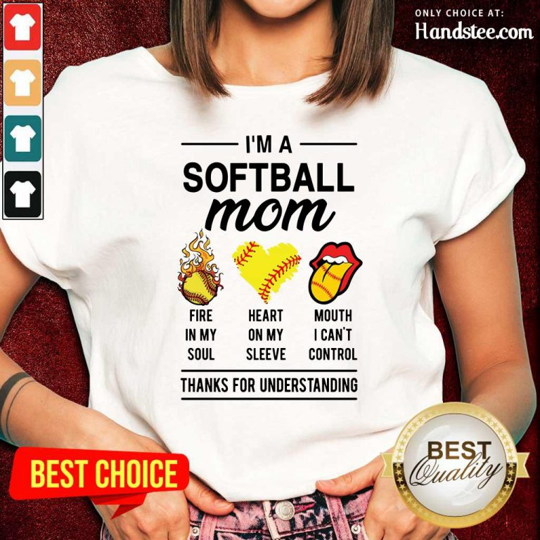 I'm A Softball Mom Fire In My Soul Ladies Tee