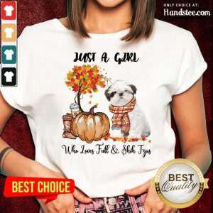 Just A Girl Who Loves Fall And Shih Tzu Ladies Tee