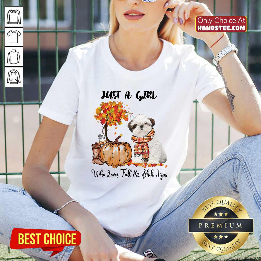 Just A Girl Who Loves Fall And Shih Tzu V-neck