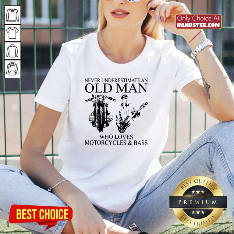 Old Man Loves Motorcycles And Bass V-neck