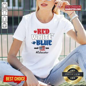 Red White Blue And Coffee Too Educator V-neck
