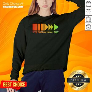 Stop Pause Fast Forward Play Colorful Sweater