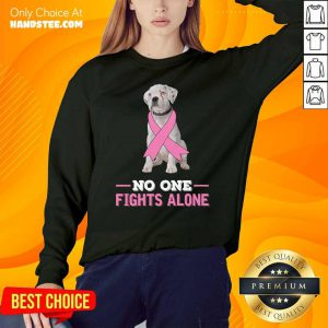 White Boxer Dog No One Fights Alone Breast Cancer Awareness Sweater